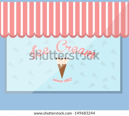 Vector ice cream shop window. - stock vector