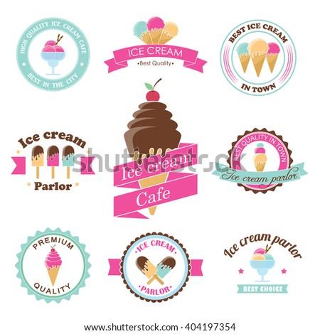 Vector ice cream stamps. Frozen sweets labels. Summer dessert shop design. Sorbet emblem. Premium quality. Parlor sign. Vanilla cone badge. Sorbet sticker. Waffle logo - stock vector