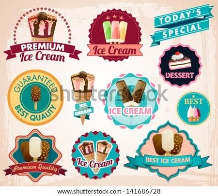 vector ice cream stickers - stock vector