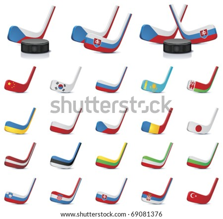 Vector ice hockey sticks country flags icons, Part 1 - stock vector