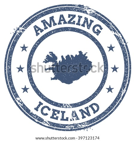 Vector Iceland Stamp. Vintage Amazing Iceland Stamp with Map Outline. Iceland Flag Grunge Round Sticker. - stock vector