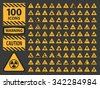 Vector icn set triangle yellow warning caution hazard signs. - stock photo