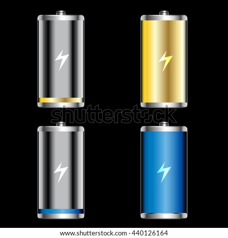 Vector icon battery low and full  - stock vector
