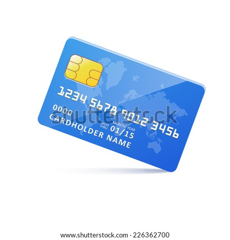 Vector icon blue earth credit card