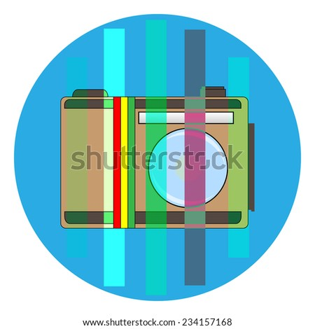 Vector icon -  brown camera with Flag of Ethiopia isolated on white background - stock vector
