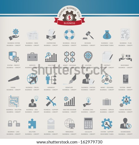 Vector Icon Business set - stock vector