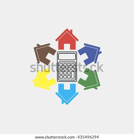 Vector icon. Calculator. Calculating the cost of building a house, repair, tax accounting.  - stock vector