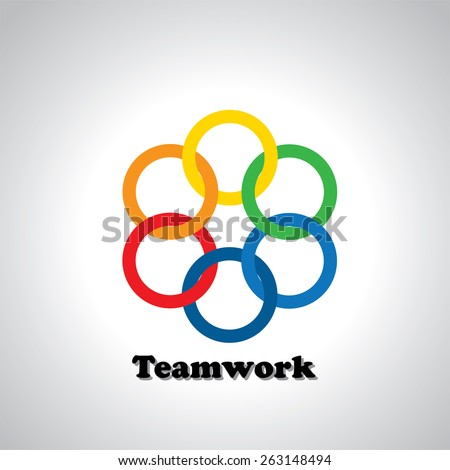 vector icon colorful rings interlocked - teamwork concept. This also represents unity, united people, friendship, partnership, close relationships, bonding - stock vector