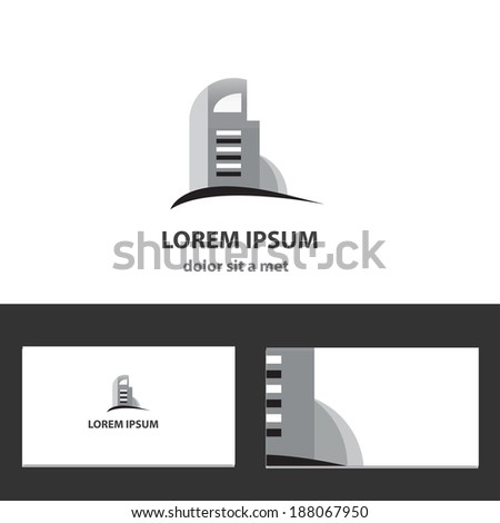 Vector icon design template with business card - stock vector