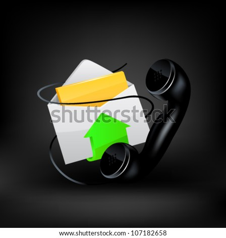 Vector icon. E-mail and phone - stock vector