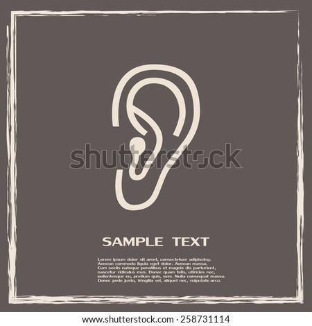 Vector icon ear - stock vector