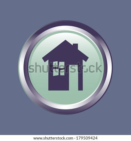 vector icon eco house Vector button symbol eco house - stock vector