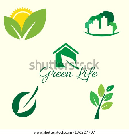 Vector icon ecology set. Environment protection. Green life.