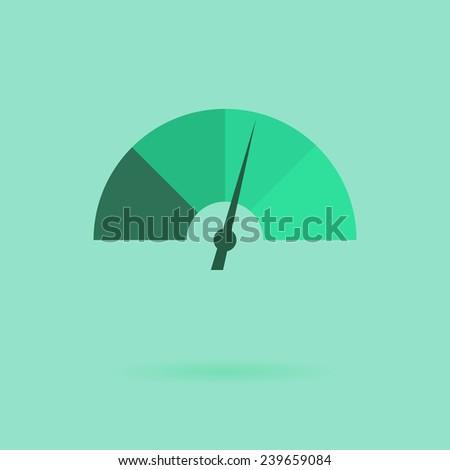Vector icon flat design speedometer - stock vector