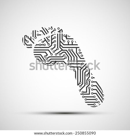 Vector icon footprint as a chip - stock vector