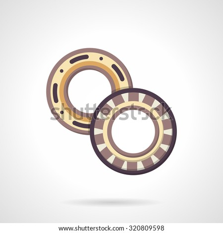 Vector icon for two bearings flat color style. Ball bearing and roller bearing, mechanical parts. Elements of web design for business and website. - stock vector
