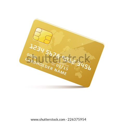 Vector icon gold credit card