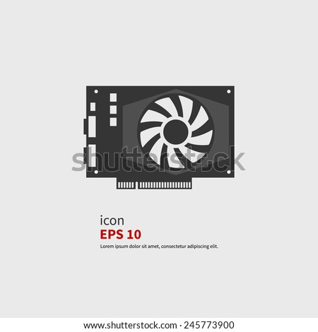 Vector icon GPU or video card. Black silhouette isolated - stock vector