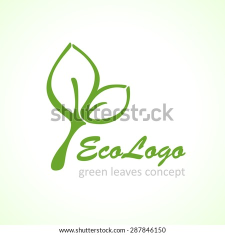 vector icon green ecology leaf, vector background - stock vector