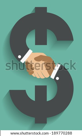 Vector icon handshake on money sign. Background for business and finance  - stock vector