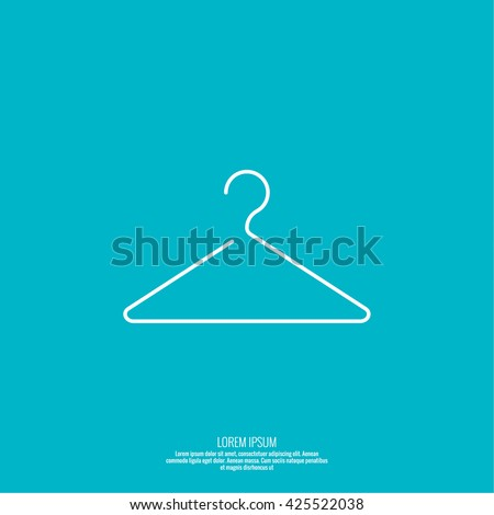 Vector icon hanger. Linear icon. Thin line. Clothes hanger for home and shop, showcase - stock vector