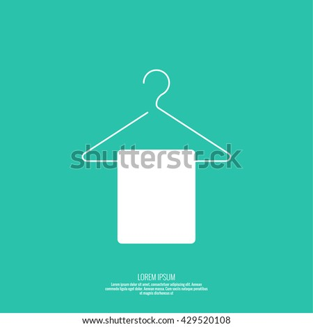 Vector icon hanger. Linear icon. Thin line. Clothes hanger for home and shop, the display cases with hanging towel. Clean linen - stock vector