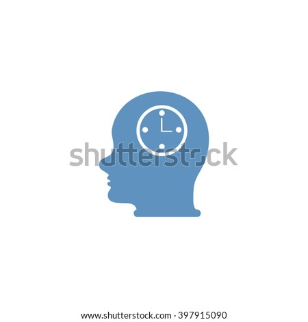 Vector Icon head think silhouette man and his mind about clock. Icon watch.