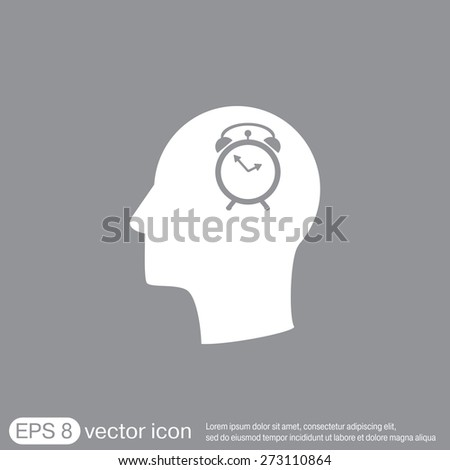 Vector Icon head think silhouette vector man and his mind about alarm clock sign. Symbol morning. Alarm icon . The clock shows the time