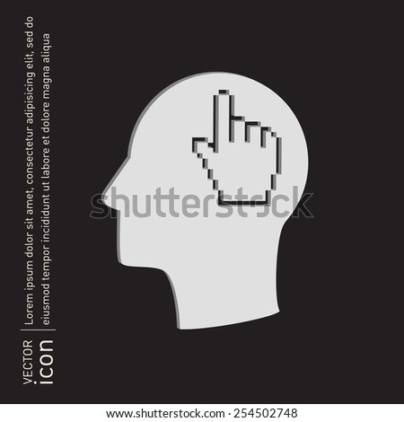 Vector Icon head think silhouette vector man and his mind about mouse hand cursor. pixel view - stock vector