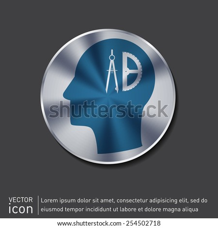 Vector Icon head think silhouette vector man and his mind about the compass and protractor. characters geometry. Education sign. symbol icon drawing and geometry - stock vector