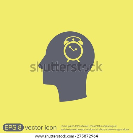 Vector Icon head think silhoutte vector man and his mind about alarm clock sign. Symbol morning. Alarm icon . The clock shows the time