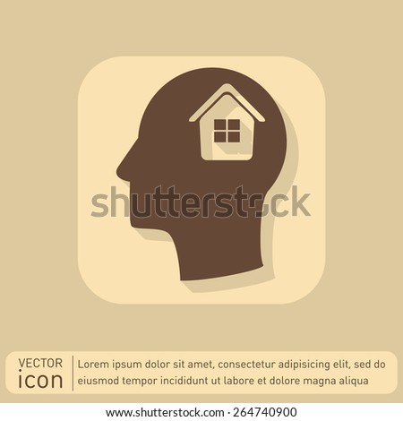 Vector Icon head think silhoutte vector man and his mind about. House icon.  - stock vector