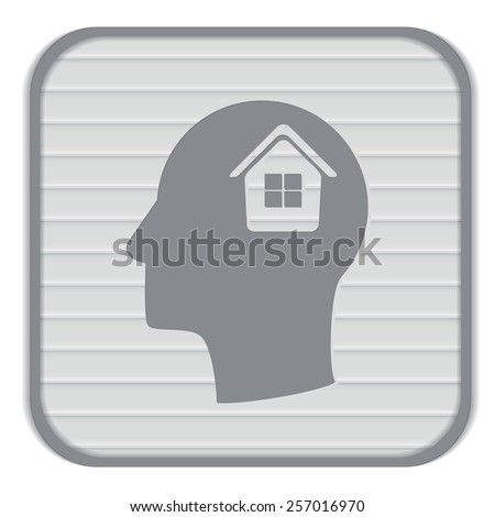Vector Icon head think silhoutte vector man and his mind about  House icon. Home sign - stock vector
