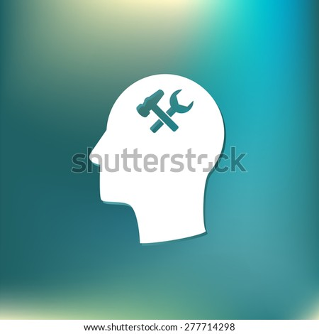 Vector Icon head think silhoutte vector man and his mind about  symbol settings sign, hammer and wrench - stock vector