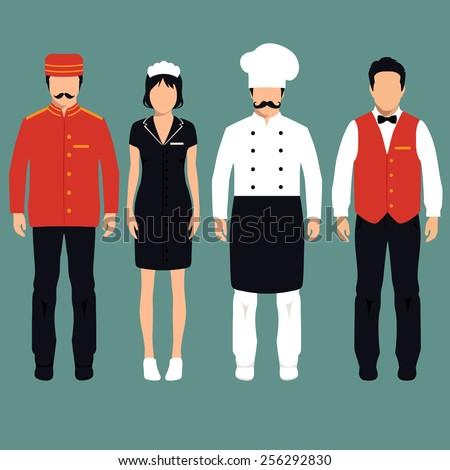 vector icon hotel service profession, cartoon worker uniform, room service - stock vector