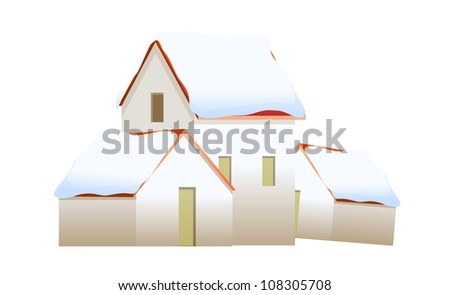 vector icon house with snow