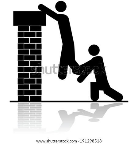 Vector icon illustration showing a person helping to lift another over a brick wall