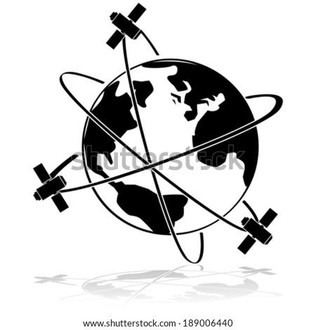 Vector icon illustration showing three satellites orbiting Earth - stock vector