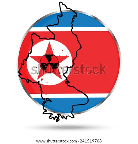 Vector icon. illustration similar to the flag of DPRK in a circle. Outline the borders of North Korea. Sign of radiation. Star, stained with blood. Isolated on white background. - stock vector