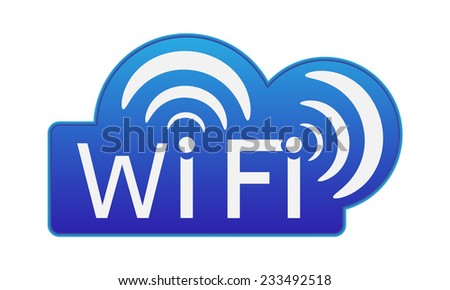 "Vector icon - label or sticker ""Wifi"".  Isolated on white background."
