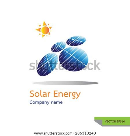 vector icon made from photovoltaic module symbols. solar energy logo design concept. - stock vector