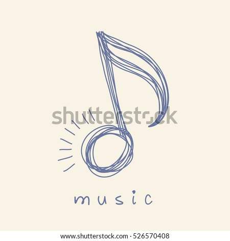 Vector icon music note of doodle. Logo design template. Simple hand drawn cute icon. Abstract decorative monochrome illustration for print, web