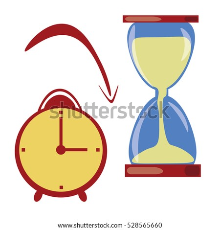 Vector icon of a beautiful hourglass in trendy flat style. Sandglass. Retro alarm clock.