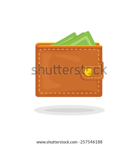 Vector icon of a beautiful wallet with money in trendy flat style - stock vector