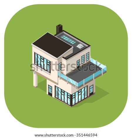 Vector icon of a large ultra modern house. A vector icon illustration home. large minimalist residential built structure. - stock vector