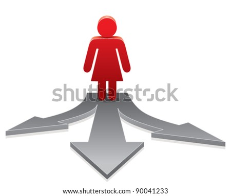 vector icon of a woman making a choice on crossroads
