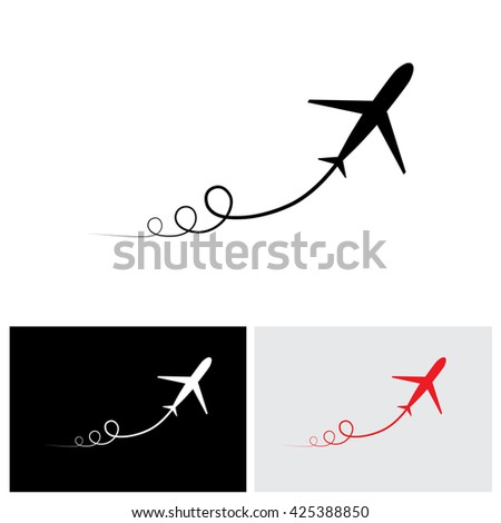 vector icon of airplane take off showing its path & speeding up. This illustration can also represent silhouette symbol of a military jet or plane zoom in the sky with high speed - stock vector