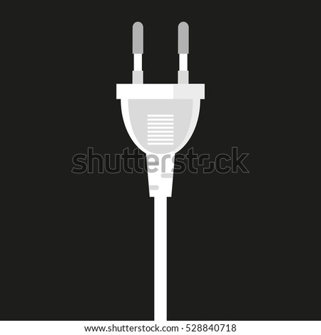 Vector Icon of an electric plug. isolated on black background