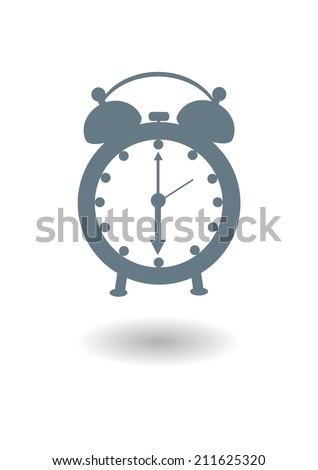 Vector icon of an old alarm clock with shadow on white background - stock vector