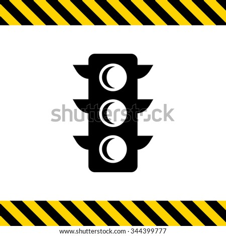 Vector icon of black traffic light silhouette